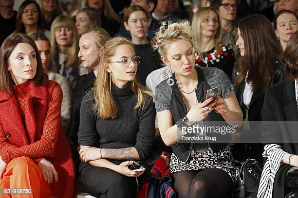 Hanna Wie and Caro Cult attend the Dorothee Schumacher show during the MercedesBenz Fashion Week Berlin A/W 2017 at Kaufhaus Jandorf on January 17...