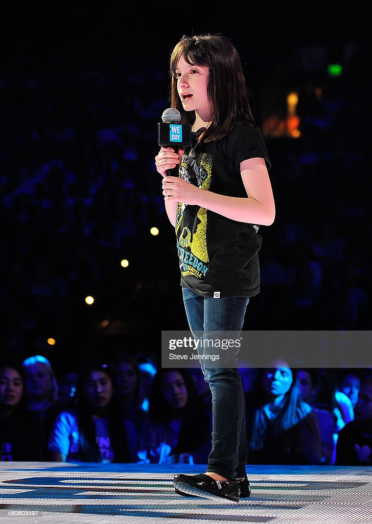 Hannah Alper in Oakland, CA speaks about youth empowerment to 16,000 students and educators at the first We Day California at ORACLE Arena on March 26, 2014 in Oakland, California.