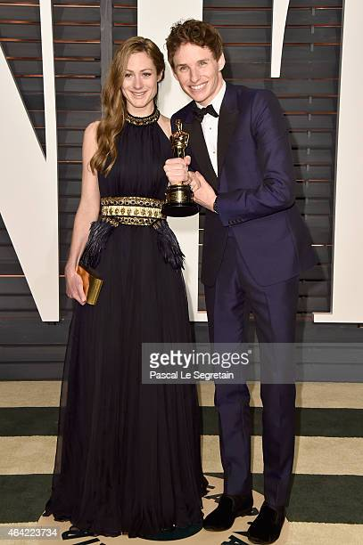 Hannah Bagshawe and actor Eddie Redmayne attend the 2015 Vanity Fair Oscar Party hosted by Graydon Carter at Wallis Annenberg Center for the...