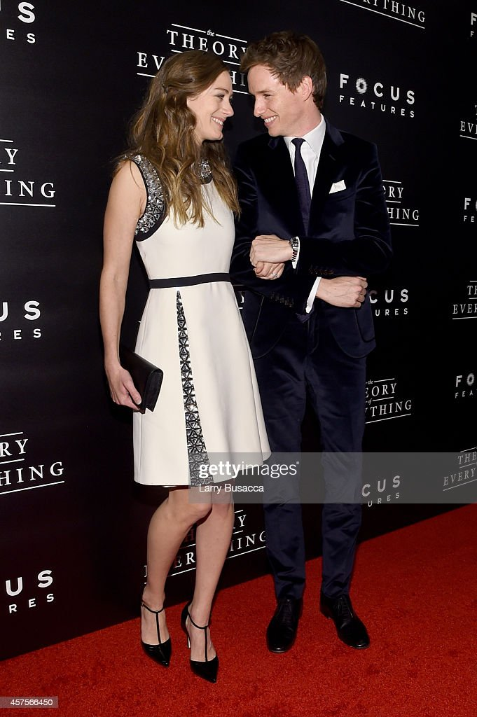 Hannah Bagshawe (L) and actor Eddie Redmayne attend 'The Theory Of Everything' New York Premiere at Museum of Modern Art on October 20, 2014 in New York City.