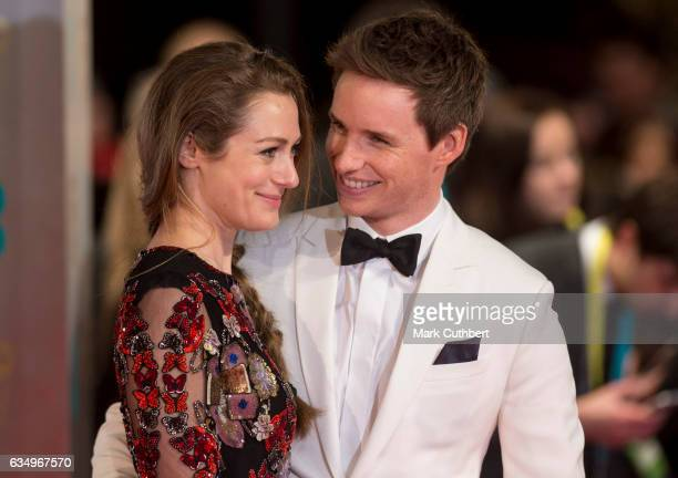Hannah Bagshawe and Eddie Redmayne attend the 70th EE British Academy Film Awards at Royal Albert Hall on February 12 2017 in London England