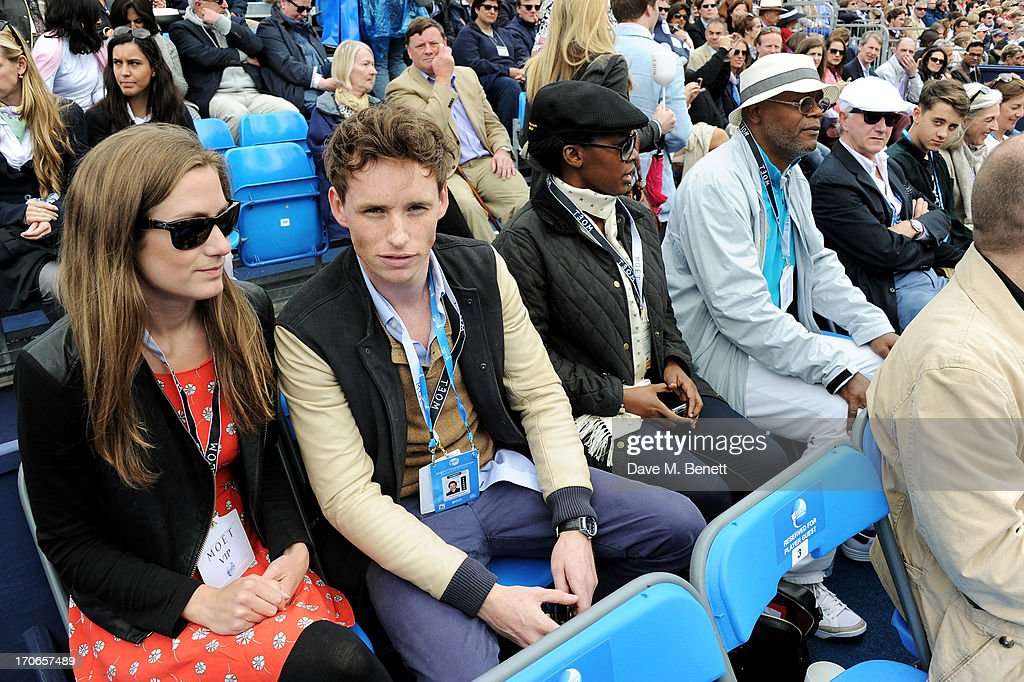 Hannah Bagshawe, <a gi-track='captionPersonalityLinkClicked' href=/galleries/search?phrase=Eddie+Redmayne&family=editorial&specificpeople=2554844 ng-click='$event.stopPropagation()'>Eddie Redmayne</a>, guest and <a gi-track='captionPersonalityLinkClicked' href=/galleries/search?phrase=Samuel+L.+Jackson&family=editorial&specificpeople=167234 ng-click='$event.stopPropagation()'>Samuel L. Jackson</a> attend The Moet & Chandon Suite at The Aegon Championships Queens Club finals on June 16, 2013 in London, England.