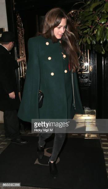 Hannah Bagshawe seen on a night out leaving Scott's Restaurant on October 23 2017 in London England