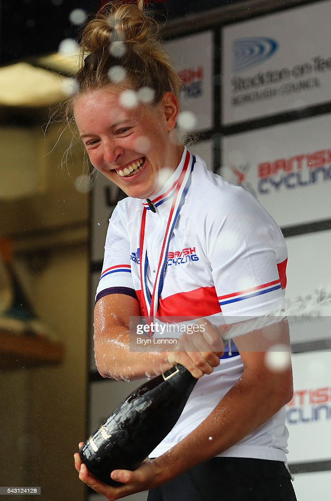 Hannah Barnes of Canyon - SRAM celebrates winning the Women's 2016 National Road Championships on June 26, 2016 in Stockton-on-Tees, England.