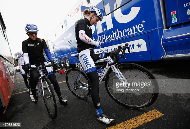 Hannah Barnes of Great Britain and teammate Alexis Ryan of the United States riding for UnitedHealthcare prepare for the start of stage one of the...