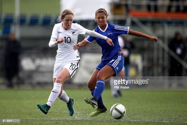 Hannah Blake of New Zealand is tackled by Rachael Tagatauli of Samoa during the Oceania U19 Womens Championship match between New Zealand and Samoa...