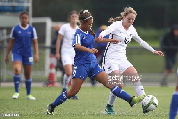 Hannah Blake of New Zealand is tackled by Renee Atonio of Samoa during the Oceania U19 Womens Championship match between New Zealand and Samoa at...
