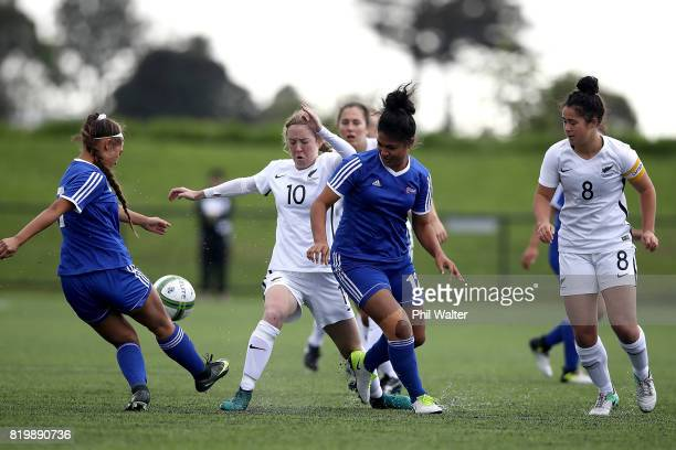 Hannah Blake of New Zealand is tackled by Talaisea Mulitali of Samoa during the Oceania U19 Womens Championship match between New Zealand and Samoa...