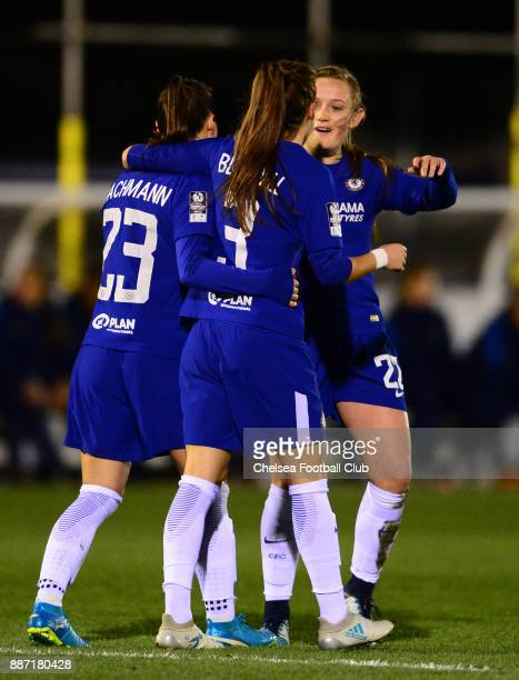 Hannah Blundell of Chelsea celebrates with her team mates after scores to make it 10 during a Continental Tyres Cup Match between Chelsea Ladies and...