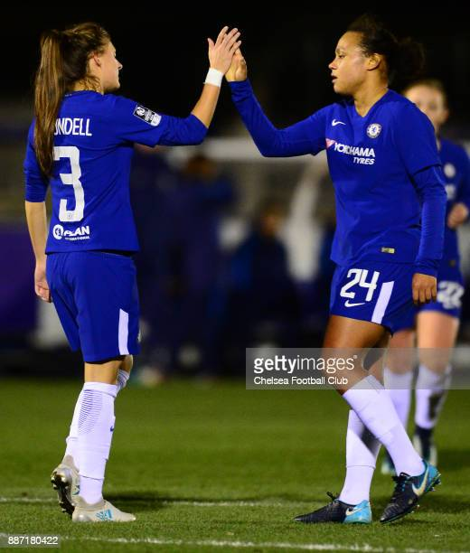 Hannah Blundell of Chelsea celebrates with team mate Drew Spence after scores to make it 10 during a Continental Tyres Cup Match between Chelsea...