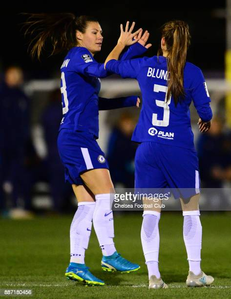 Hannah Blundell of Chelsea celebrates with team mate Ramona Bachmann after scores to make it 10 during a Continental Tyres Cup Match between Chelsea...