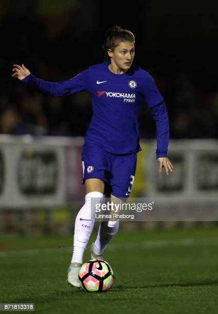 Hannah Blundell of Chelsea in action during the UEFA Women's Champions League match between Chelsea Ladies and Rosengard at The Cherry Red Records...