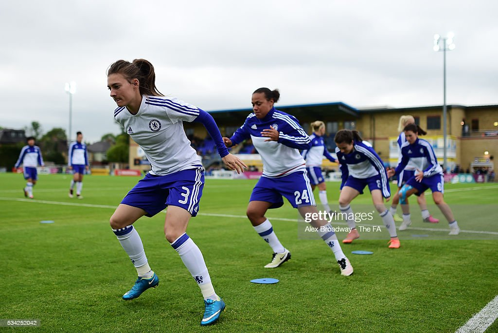 Hannah Blundell of Chelsea Ladies FC warms up prior to the FA WSL 1 match between Chelsea Ladies FC and Sunderland Ladies at Wheatsheaf Park on May 25, 2016 in Staines, England.