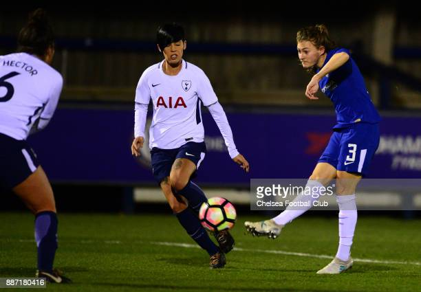 Hannah Blundell of Chelsea scores to make it 10 during a Continental Tyres Cup Match between Chelsea Ladies and Tottenham Ladies at The Cherry Red...