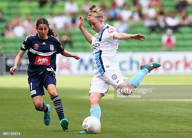 Hannah Brewer of Melbourne City passes the ball during the round two WLeague match between Melbourne City FC and Melbourne Victory at AAMI Park on...