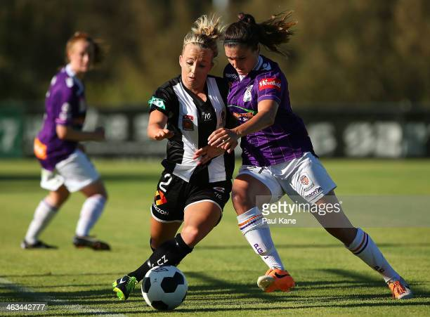 Hannah Brewer of the Jets and Christina Julien of the Glory contest for the ball during the round nine WLeague match between the Perth Glory and the...
