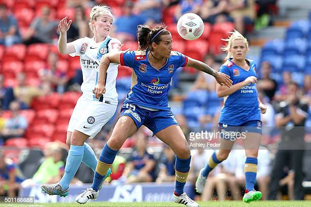 Hannah Bromley of the Jets controls the ball ahead of Melbourne City defence during the round nine WLeague match between the Newcastle Jets and...