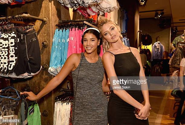 Hannah Bronfman and model Martha Hunt attend as Superdry celebrates the exclusive opening of 34th St Flagship store on July 14 2016 in New York City