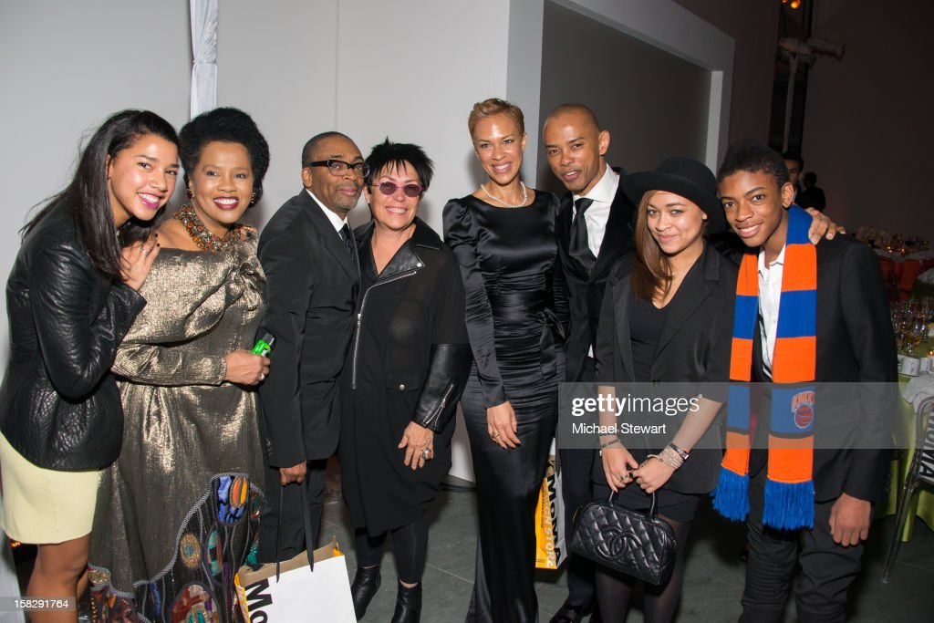 Hannah Bronfman, event chair Sherry Bronfman, director <a gi-track='captionPersonalityLinkClicked' href=/galleries/search?phrase=Spike+Lee&family=editorial&specificpeople=156419 ng-click='$event.stopPropagation()'>Spike Lee</a>, Mera Rubell, <a gi-track='captionPersonalityLinkClicked' href=/galleries/search?phrase=Tonya+Lewis+Lee&family=editorial&specificpeople=591625 ng-click='$event.stopPropagation()'>Tonya Lewis Lee</a>, Spencer Means, Satchel Lee and Jackson Lee attend The Museum of Modern Art's Jazz Interlude Gala after party at Museum of Modern Art on December 12, 2012 in New York City.