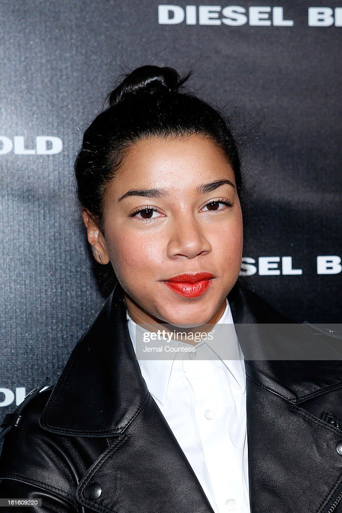 DJ Hannah Bronfman poses backstage at the Diesel Black Gold Fall 2013 fashion show during Mercedes-Benz Fashion Week at Pier 57 on February 12, 2013 in New York City.