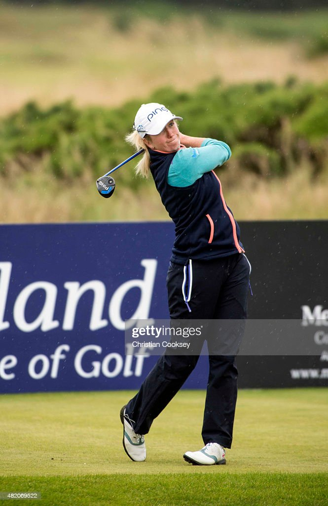 Hannah Burke of England tees of on the 17th during the Aberdeen Asset Management Scottish Ladies Open at Dundonald Links Golf Course on July 26, 2015 in Troon, Scotland.