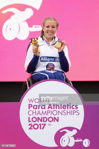 Hannah Cockcroft of Great Britain poses with her gold medal for the Women's 100m T34 Final during Day Two of the IPC World ParaAthletics...