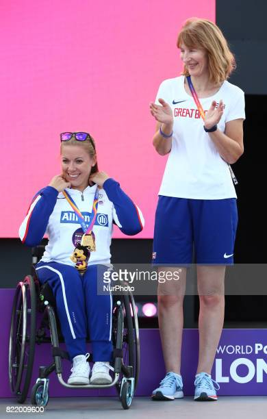 Hannah Cockcroft of Great Britain with Coach Women's 400m T34 during World Para Athletics Championships at London Stadium in London on July 21 2017