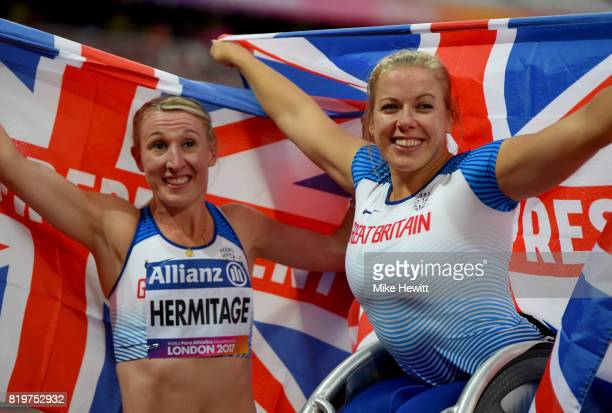 Hannah Cockroft of Great Britain and Georgina Hermitage of Great Britain celebrate winning the Women's 400m T34 and Women's 400m T37 respectively...