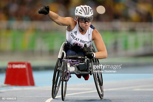 Hannah Cockroft of Great Britain celebrates winning the women's 100 meter T34 final at Olympic Stadium during day 3 of the Rio 2016 Paralympic Games...