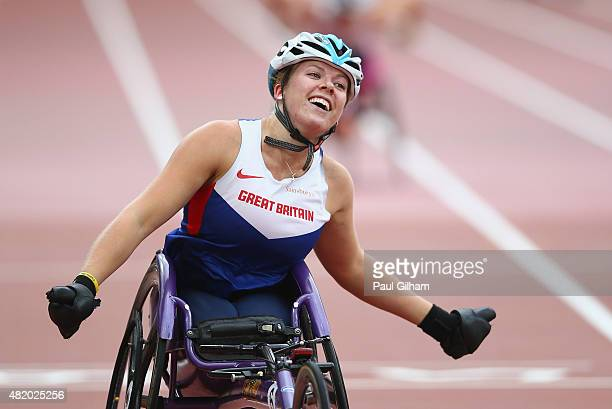 Hannah Cockroft of Great Britain celebrates winning the Women's 400m T32 race during day three of the Sainsbury's Anniversary Games at The Stadium...