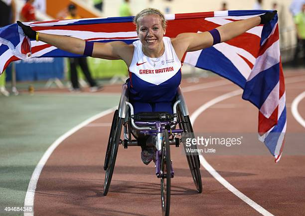 Hannah Cockroft of Great Britain celebrates winning the women's 800m T34 final during the Evening Session on Day Seven of the IPC Athletics World...
