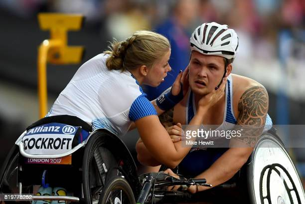 Hannah Cockroft of Great Britain comforts Ben Rowlings of Great Britain during day seven of the IPC World ParaAthletics Championships 2017 at London...