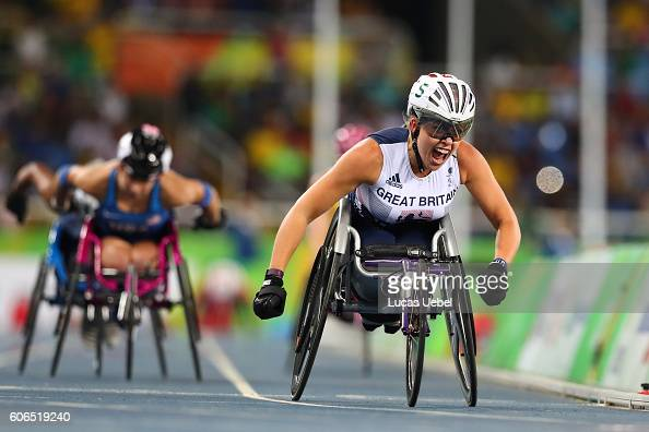 Hannah Cockroft of Great Britain competes in the Women's 800m T34 during day 9 of the Rio 2016 Paralympic Games at the Olympic Stadium on September...