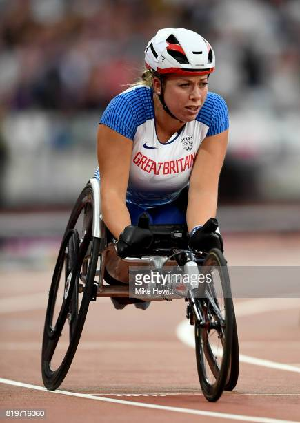 Hannah Cockroft of Great Britain prepares to compete in the Women's 400m T34 during day seven of the IPC World ParaAthletics Championships 2017 at...