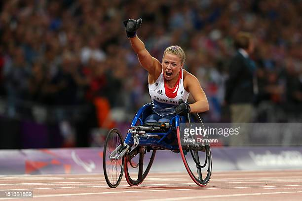 Hannah Cockroft of Great Britain wins gold in the Women's 200m T34 Final on day 8 of the London 2012 Paralympic Games at Olympic Stadium on September...