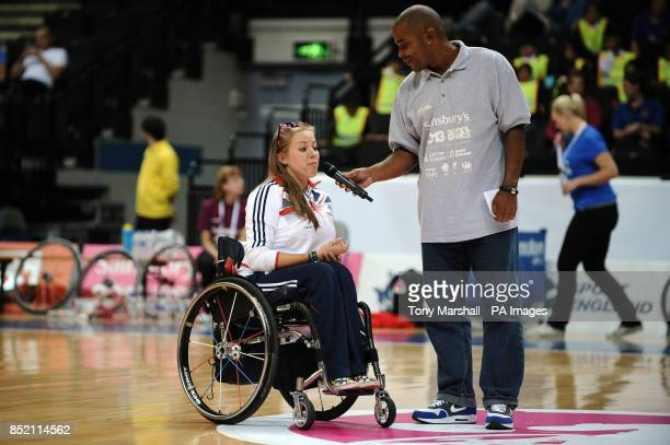 Hannah Cockroft speaks to the crowd during half time the wheelchair basketball on day two of the 2013 Sainsburys School Games at the Motorpoint Arena...
