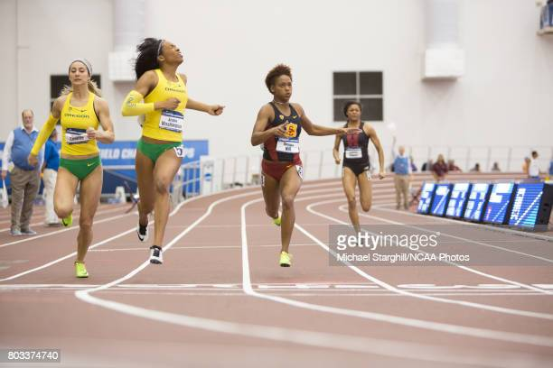 Hannah Cunliffe and Ariana Washington of Oregon and Deanna Hall of USC compete in the 200 meter dash during the Division I Men's and Women's Indoor...
