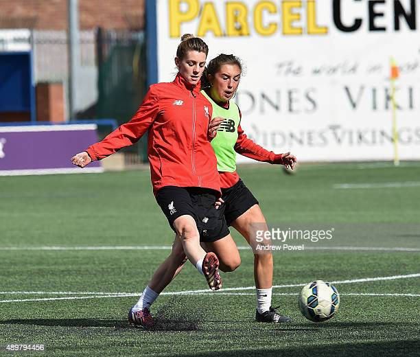 Hannah Dale and Katie Zelem of Liverpool Ladies in action during a training session at Select Security Stadium on September 24 2015 in Widnes England