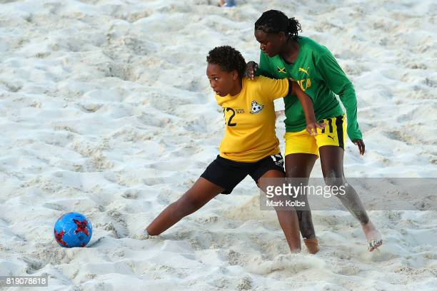 Hannah Darville of the Bahamas controls the ball during the Girls Beach Soccer match 3 between the Bahamas and Jamaica on day 2 of the 2017 Youth...