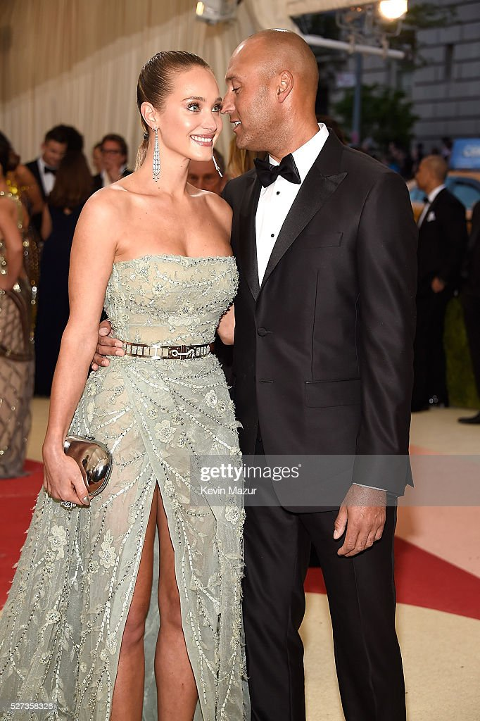 Hannah Davis and Derek Jeter attend 'Manus x Machina: Fashion In An Age Of Technology' Costume Institute Gala at Metropolitan Museum of Art on May 2, 2016 in New York City.