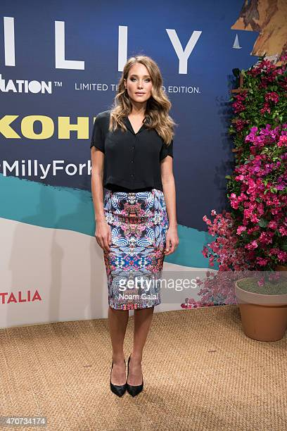 Hannah Davis attends the Milly For DesigNation collection launch at Isola Trattoria Crudo Bar on April 22 2015 in New York City
