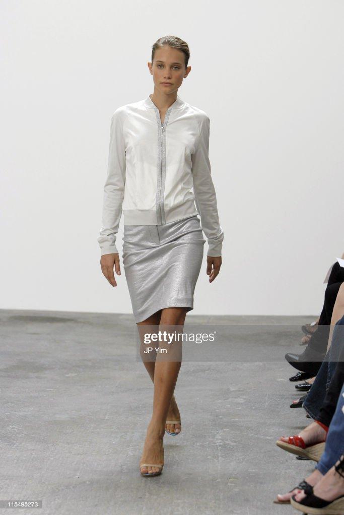 Hannah Davis wearing Josh Goot Spring 2007 during Olympus Fashion Week Spring 2007 Josh Goot Runway at Mathew Marks Gallery in New York City New York...
