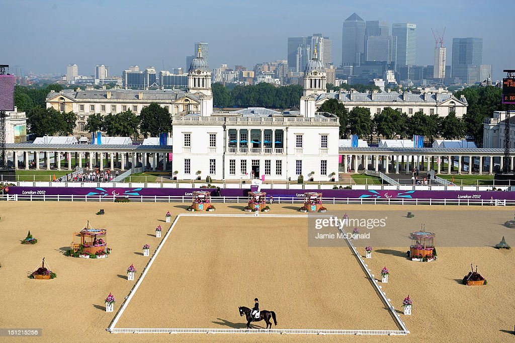 Hannah Dodd of Australia rides Waikiwi during the Equestrian Dressage Individual Freestyle Test Grade IV on day 6 of the London 2012 Paralympic Games...