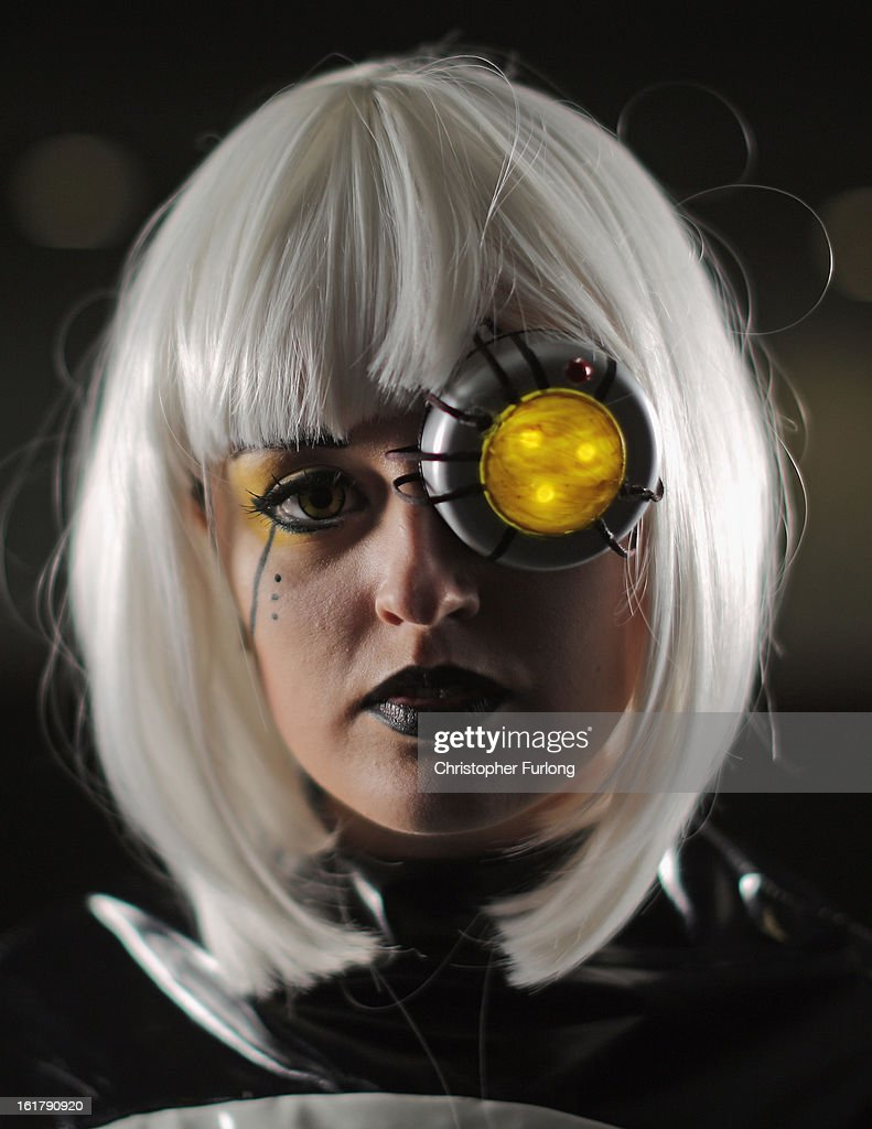 Hannah Eaton poses as video game character Glados during the MCM Midlands Comic Con Expo at The International Centre on February 16, 2013 in Telford, England. Enthusiasts at the Comic Convention are encouraged to wear a costume of their favourite comic character and flock to the Expo to gather all the latest news in the world of comics, manga, anime, film, cosplay, games and cult fiction.