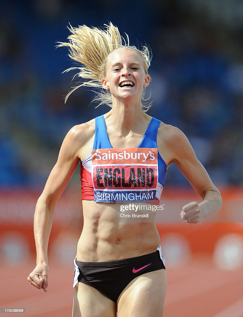 Hannah England wins the 1500m final during day three of the Sainsbury's British Championships, British Athletics World Trials and UK & England Championships at Alexander Palace on July 14, 2013 in Birmingham, England.