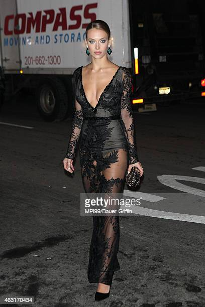 Hannah Ferguson arrives at the 2015 Sports Illustrated Swimsuit Celebration at Marquee on February 10 2015 in New York City