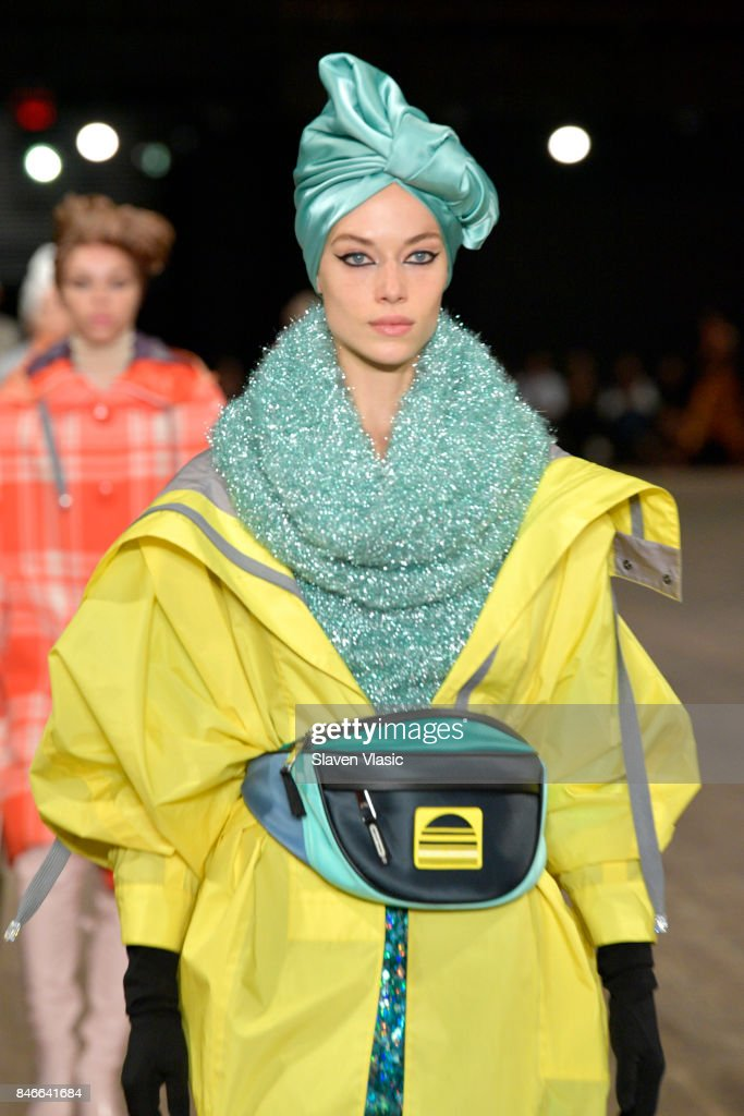 Hannah Ferguson walks the runway for Marc Jacobs SS18 fashion show during New York Fashion Week at Park Avenue Armory on September 13, 2017 in New York City.