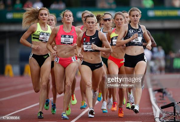 Hannah Fields Heather Kampf Shelby Houlihan and Mary Cain compete in the Women's 1500 Meter Run final during day four of the 2015 USA Outdoor Track...
