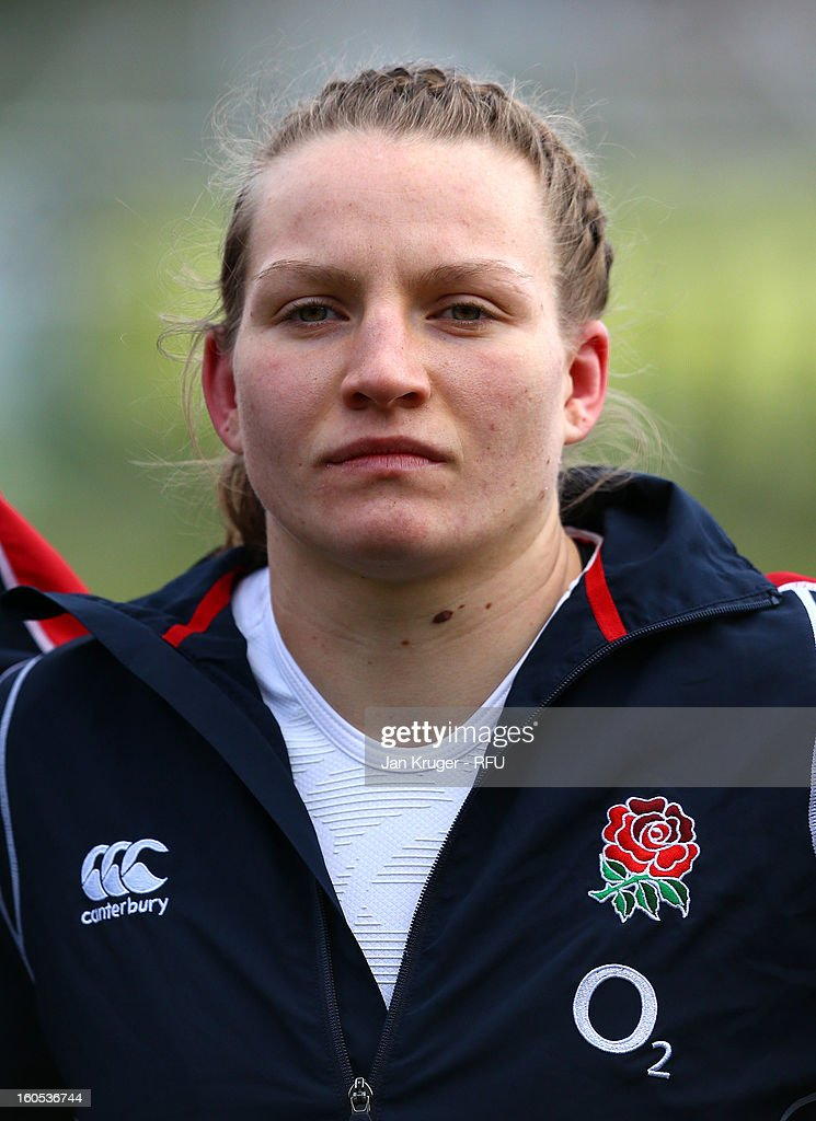Hannah Gallagher of England Women lines up for the anthem during the Womens Six Nations match between England and Scotland at Esher RFC on February 2, 2013 in Esher, England.