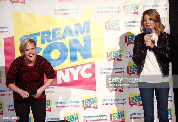 Hannah Hart and Grace Helbig speak at Stream Con NYC 2015 on October 30 2015 in New York City